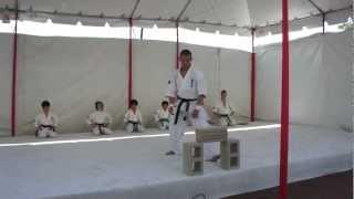 http://www.YamakiUS.com Shihan Kenji Yamaki breaks 4 concrete cap b...