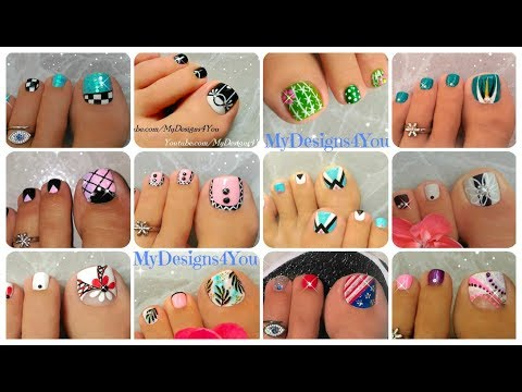12 Toenail Art Designs Compilation | New Tutorials! ♥