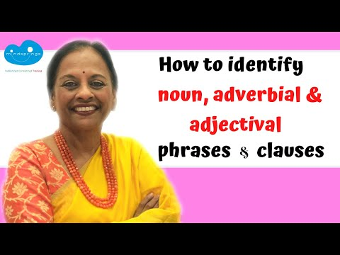 How to identify Phrases and Clauses - Noun, Adjectival and Adverbial by using the right questions.