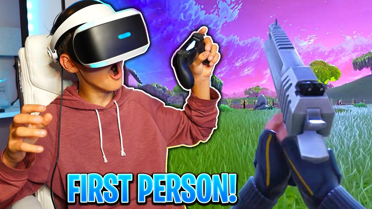 My Little Brother Plays Fortnite In First Person First Person Gameplay Vr David Vlas