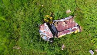 Drone flight: crashed cars off 500 foot cliff - million dollar highway
