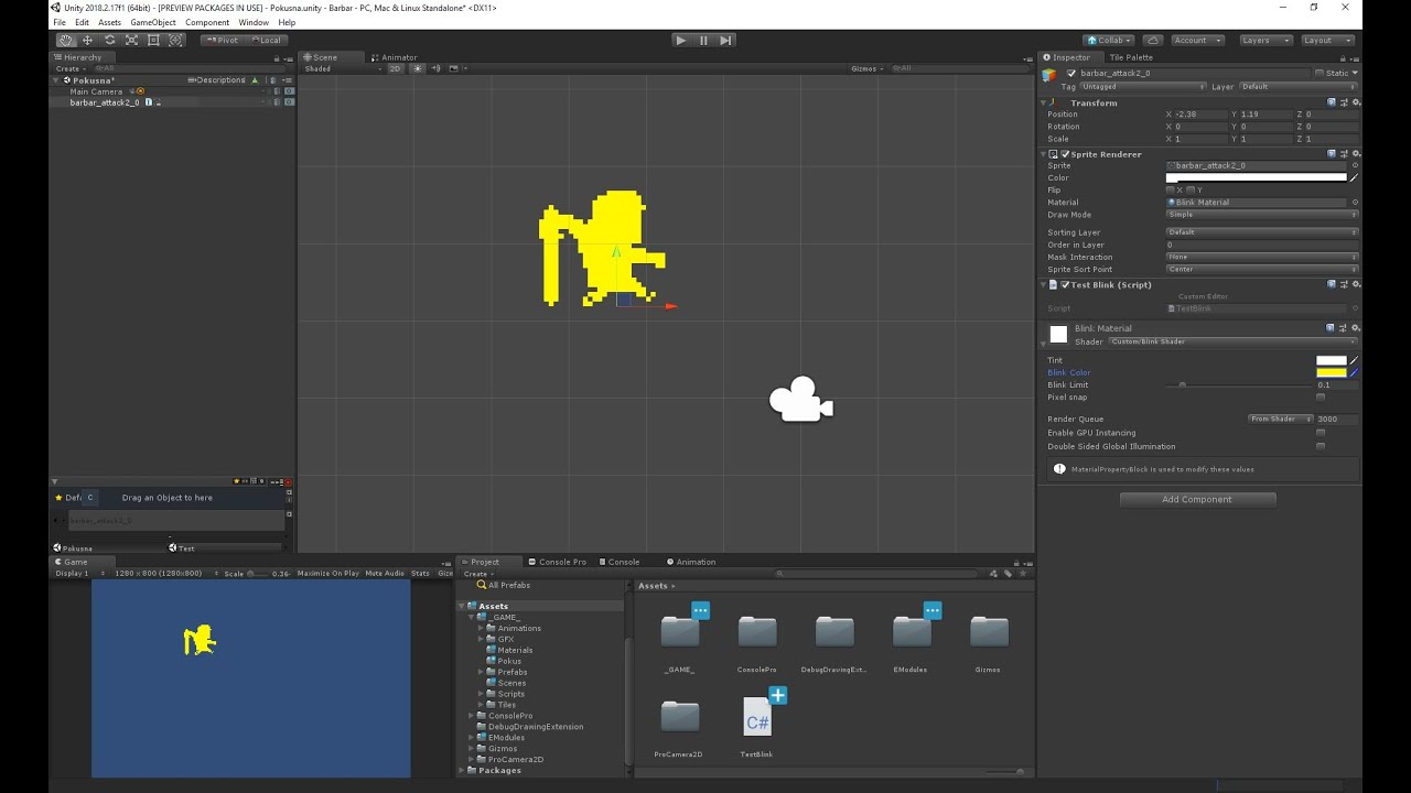 Blink sprite in solid color with shader in Unity
