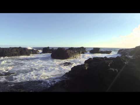Kauai, Hawaii near Port Allen on Rocks with Big Waves Crashing - Trip 1 7/21/13