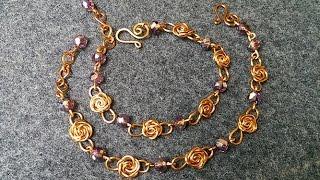 Wire copper rose bracelet - jewelry making design 119