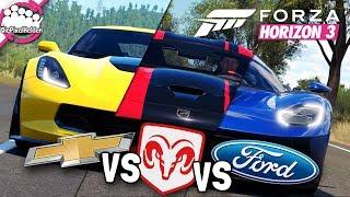 FORZA HORIZON 3 - CHEVROLET vs DODGE vs FORD - MULTIPLAYER - Let's Play Forza Horizon 3