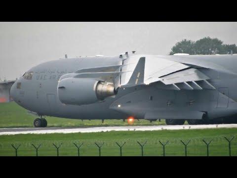 UAE Air Force Boeing C-17 Globemaster III Takeoff From Belgrade Airport