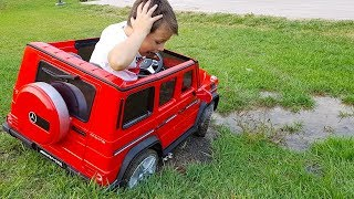 ALİ'nin AKÜLÜ ARABASI ÇAMURA BATTI! Car Stuck in the mud Power Wheels Ride Video for children
