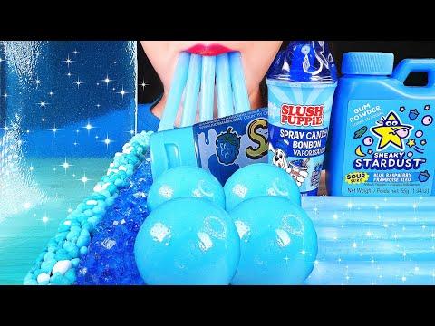 ASMR BLUE CANDY: GUM POWDER, EDIBLE WAX STICKS, NERDS ROPE, SHEET JELLY, PLANET GUMMI, ROCK CANDY 먹방