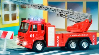 Download The Red Fire Truck with The Police Car | Emergency Cars Cartoon for kids Mp3 and Videos