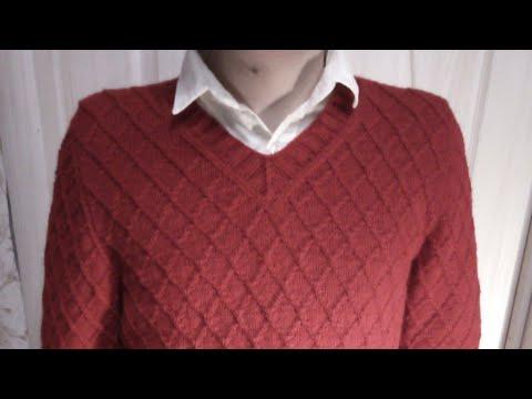 Мужской пуловер с узором РОМБЫ. V-образный вырез#мастеркласс #красивыйузор #вязание #knitting #мк