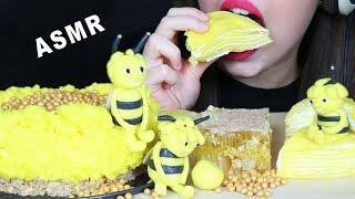 ASMR HONEYCOMB CHEESECAKE, EDIBLE BEES & RAW HONEYCOMB (EATING SOUNDS) No Talking