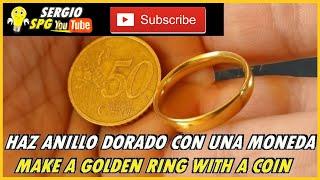 💍 COMO HACER ANILLO DORADO CON UNA MONEDA 💍 HOW TO MAKE A GOLDEN RING WITH A COIN | LIKE2HACKS