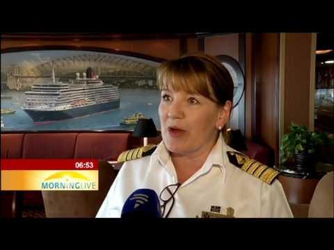 Luxury cruise liner, the Queen Elizabeth docks in Cape Town