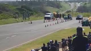 1000 hp Nissan 1400 bakkie. Horrible accident on the drag strip