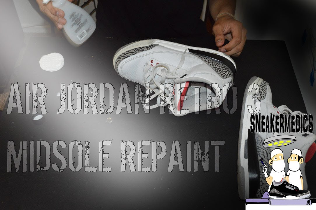 e233c46f12e3f6 Air Jordan Retro 3 Midsole Repaint (Angelus Paint) - YouTube