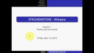 STEOHENSTONE AFRIKAANS - Lesson 1 - Basic words and family