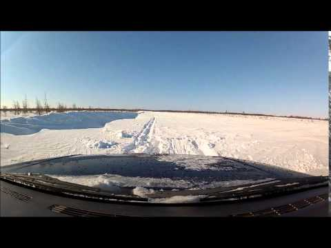Trouble On James Bay Winter Road After Blizzard.