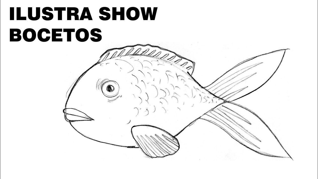 C mo dibujar pez pescado tutorial ilustra show youtube for Dormitorio para dibujar facil