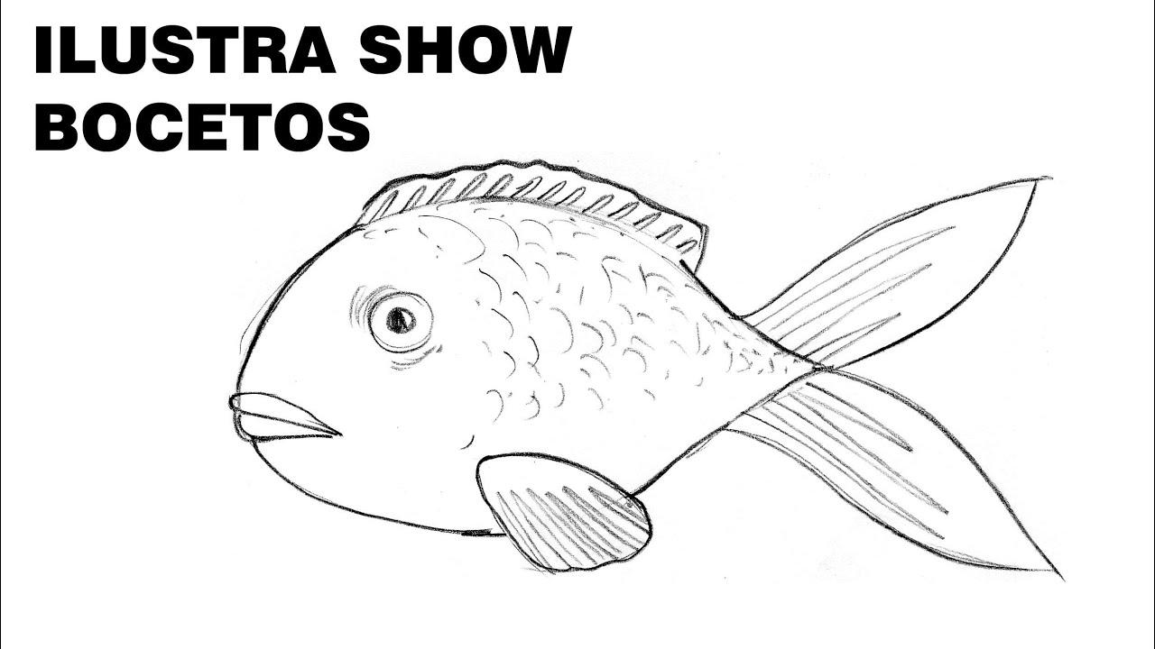 C mo dibujar pez pescado tutorial ilustra show youtube for Dormitorio para dibujar facil