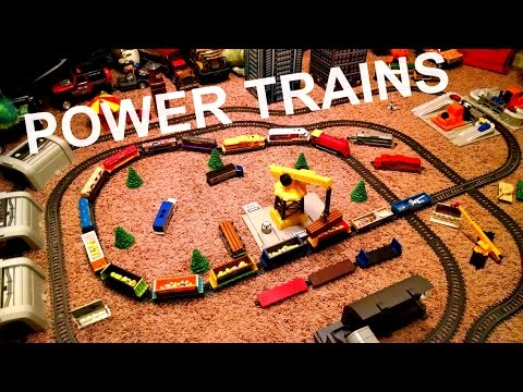 Power Trains - Single Run with Double Intersection -  3 Engines and 13 Cars