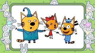 Два кота и одна кошечка. как нарисовать. видео для детей. веселые раскраски. для малышей. мультики