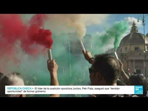 Protestas en Italia contra la obligatoriedad del pase sanitario para trabajar