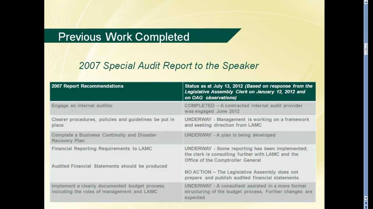 Audit of the Legislative Assembly's Financial Records