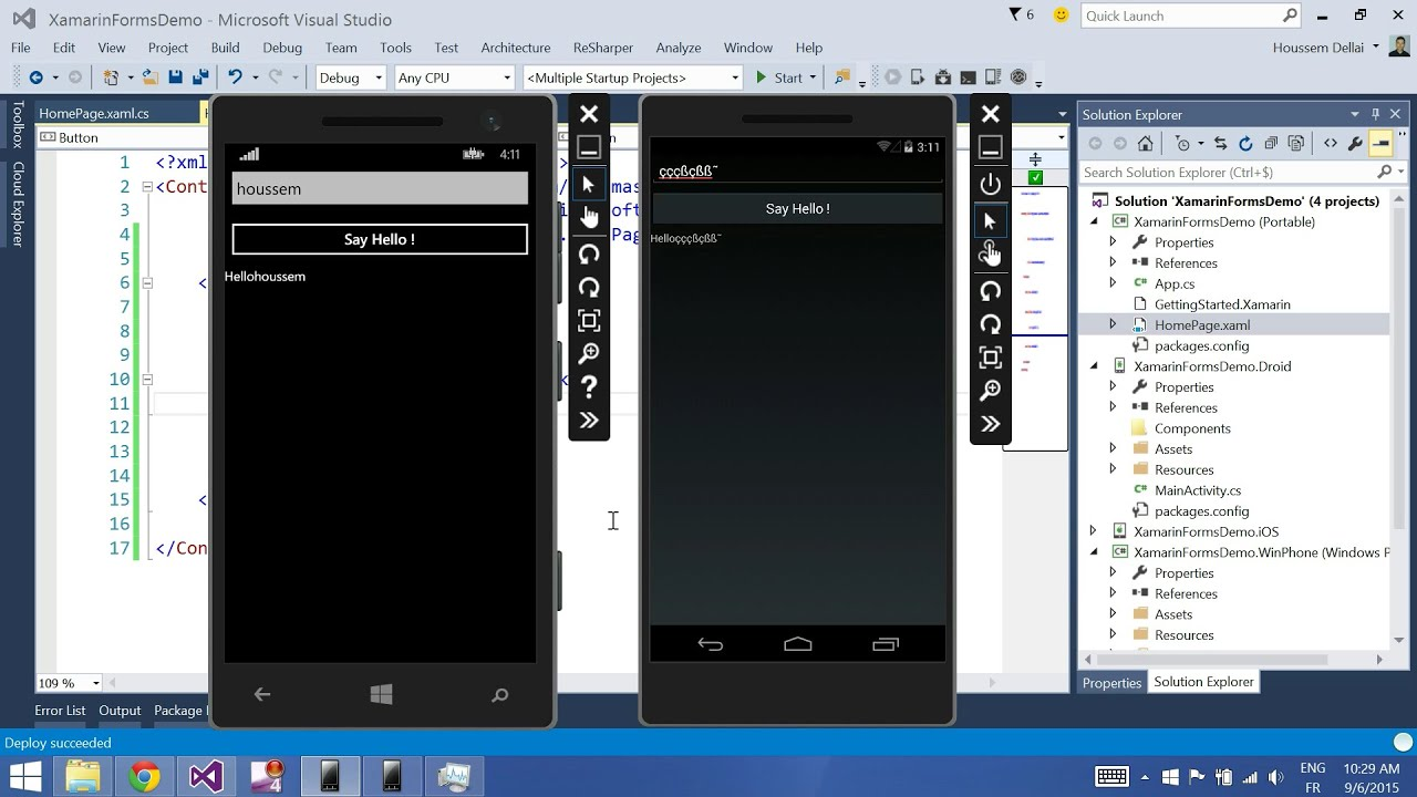 Xamarin Forms with Visual Studio Part 2 [Label, Button, Entry]