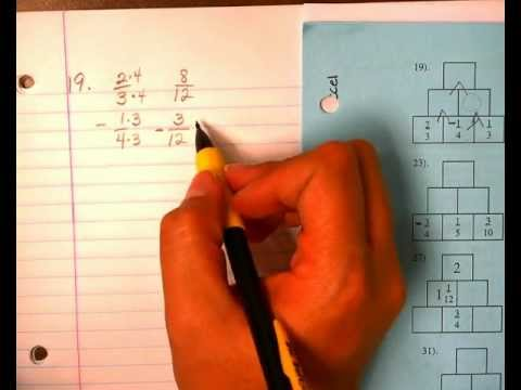 adding and subtracting fraction pyramids
