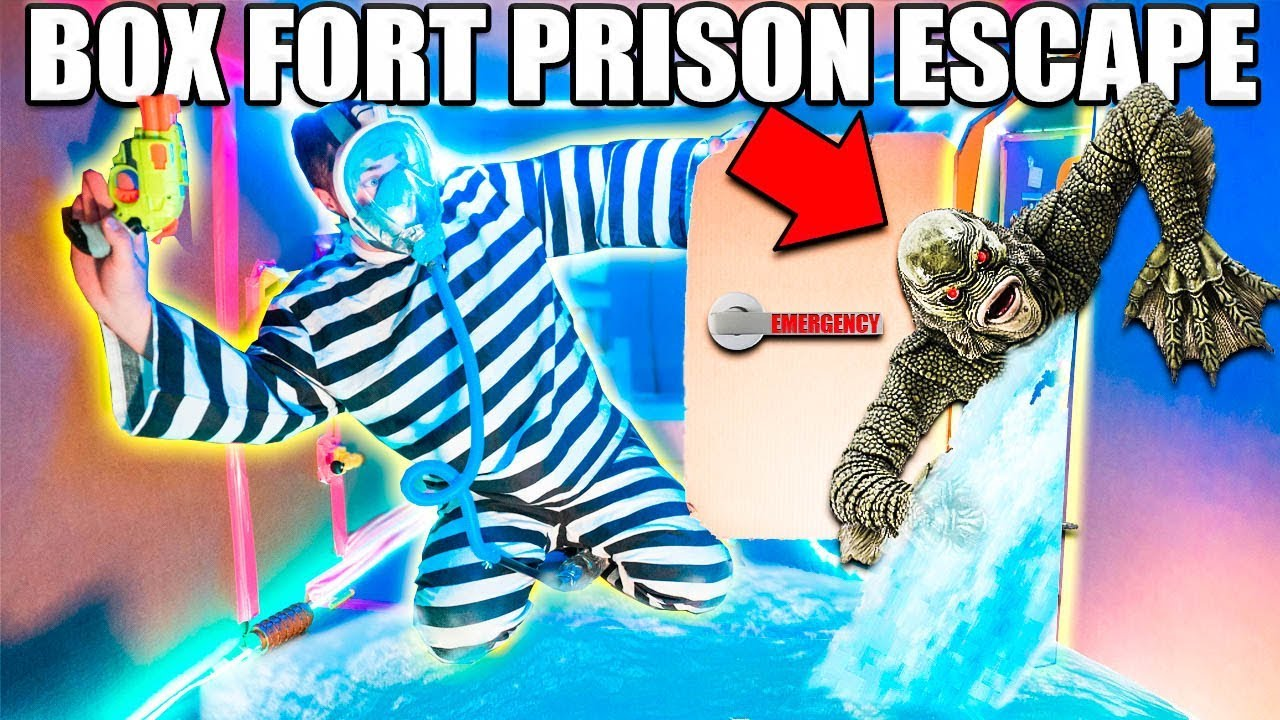UNDERWATER BOX FORT PRISON ESCAPE ???????? Pond Monster!
