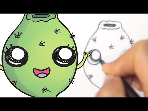 How to draw cute prickly pear