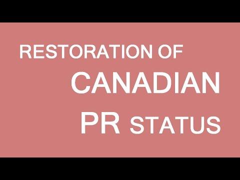 Permanent Resident status restoration