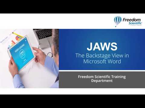 The Backstage View In Microsoft Word With JAWS