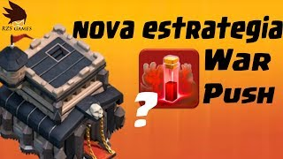NOVO ATAQUE CV9 - WAR E PUSH - CLASH OF CLANS - RZS GAMES