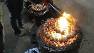 Laos Street Food tasty grilled sausage ,Laos Food 2017