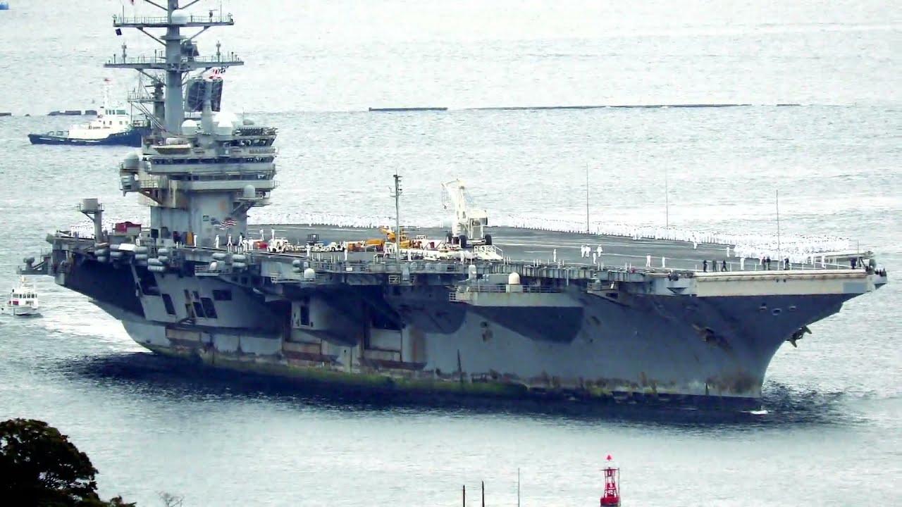 米空母レーガン中東・南シナ海遠征から帰港 2021年10月16日