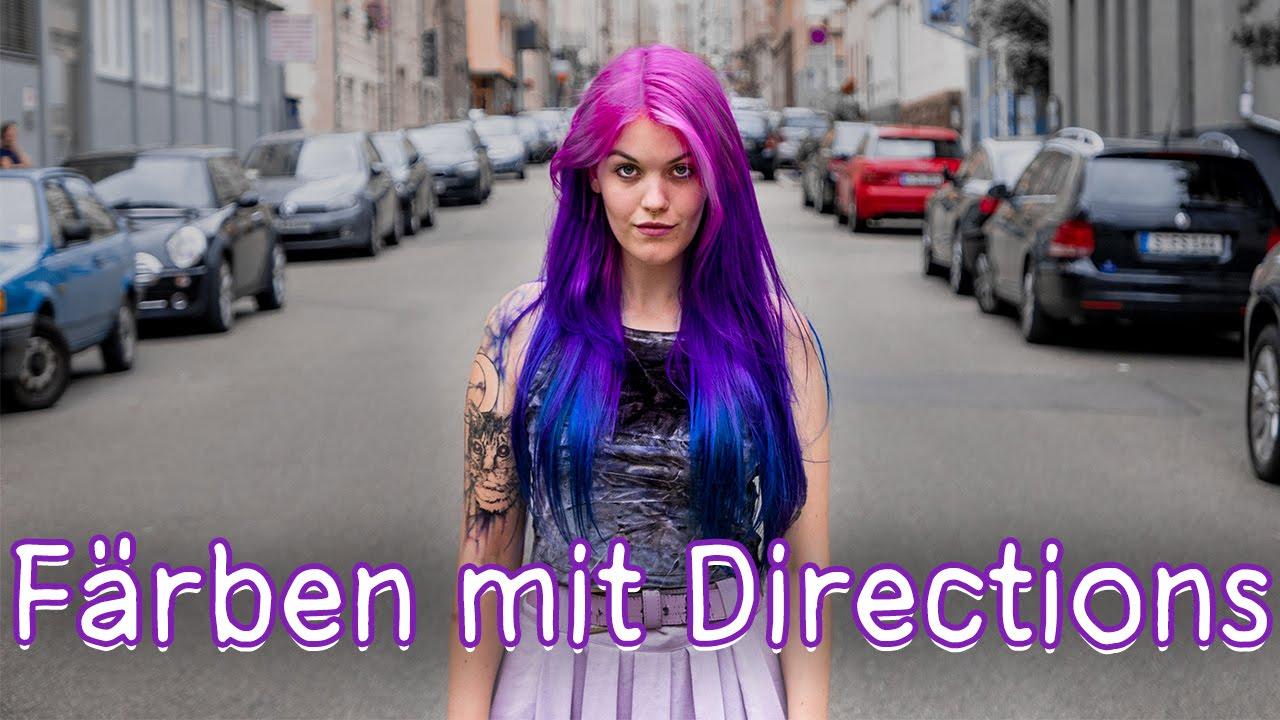 Haare Pink Lila Blau Ombre Färben Mit Directions