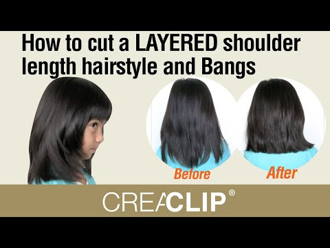 How To Cut A Layered Shoulder Length Hairstyle And Bangs Kids Youtube