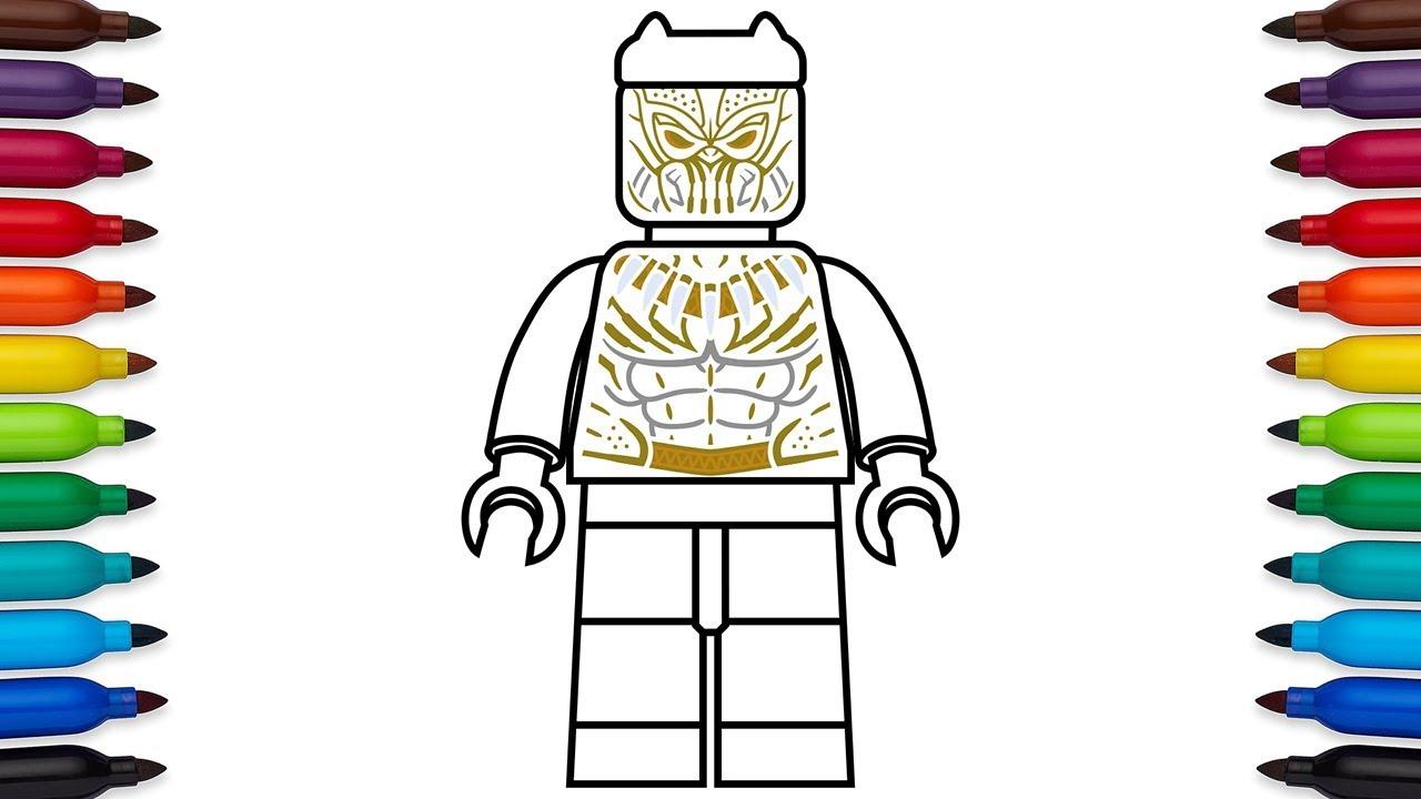 How To Draw Lego Eric Killmonger Golden Jaguar Suit From Marvel S