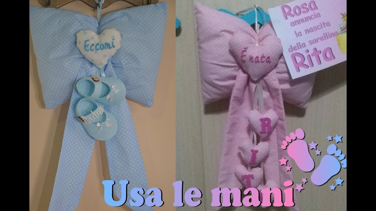 Top Fiocco nascita fai da te. Cucito creativo DIY. Birth ribbon diy  BB94
