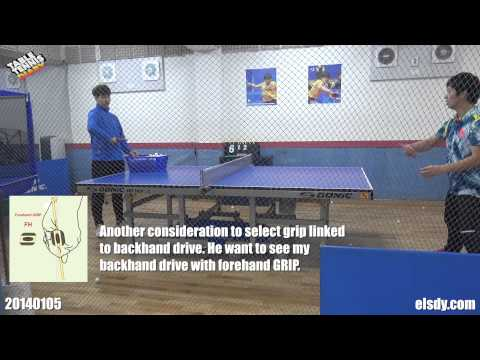 Table Tennis Diary - 20150105 Lesson with forehand grip and topspinning around backhand corner