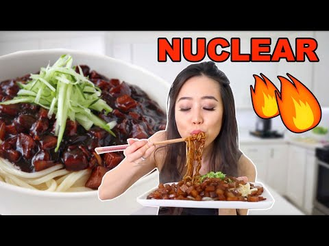 Cooking The BEST NUCLEAR KOREAN BLACK BEAN NOODLES (JJAJANGMYEON 짜장면)
