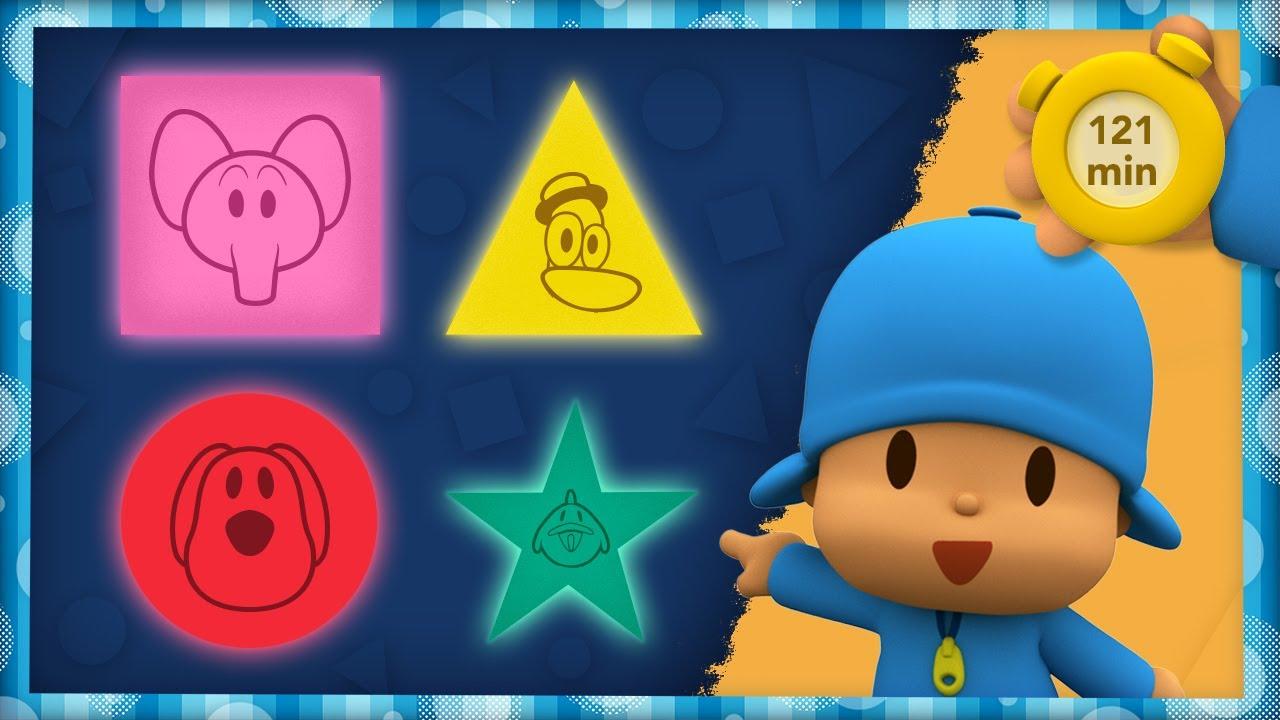 🔺 POCOYO E NINA - Aprenda As Figuras Geométricas [121 minutos]   DESENHOS ANIMADOS para crianças
