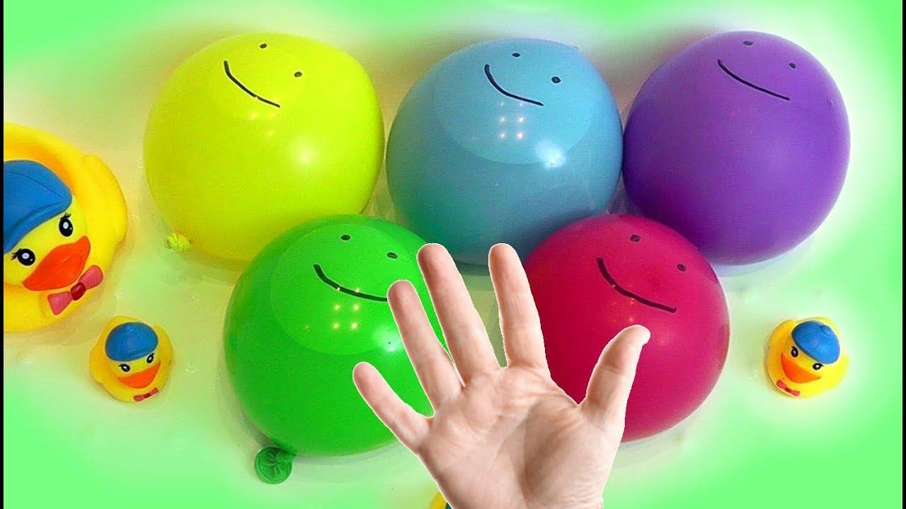 Воздушные Шарики с водой Лопаем шарики Семья пальчиков ...