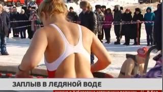 Заплыв в ледяной воде. Новости. 23/01/2017. GuberniaTV