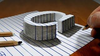 Draw a Letter C on Line Paper   3D Trick Art