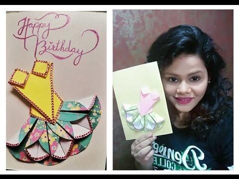 D I Y Origami Dress Greeting Card Youtube