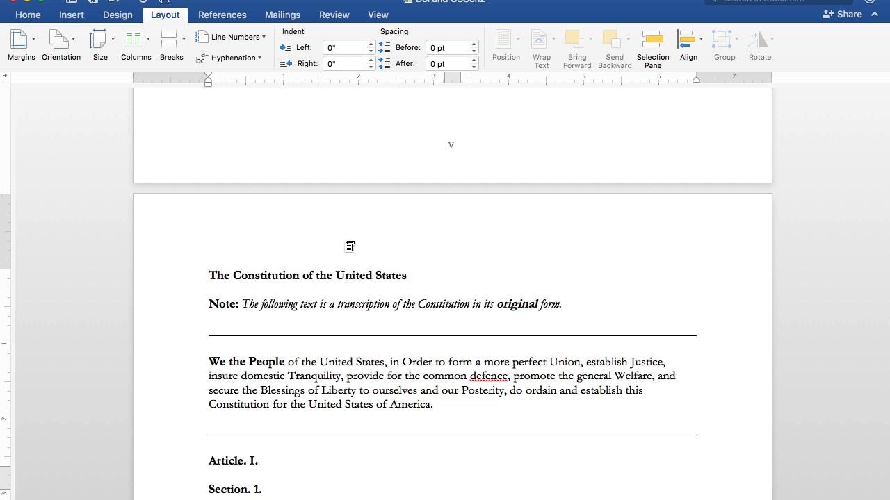 page break on microsoft word mac