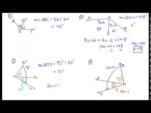 Angle Addition Postulate - Additional Examples