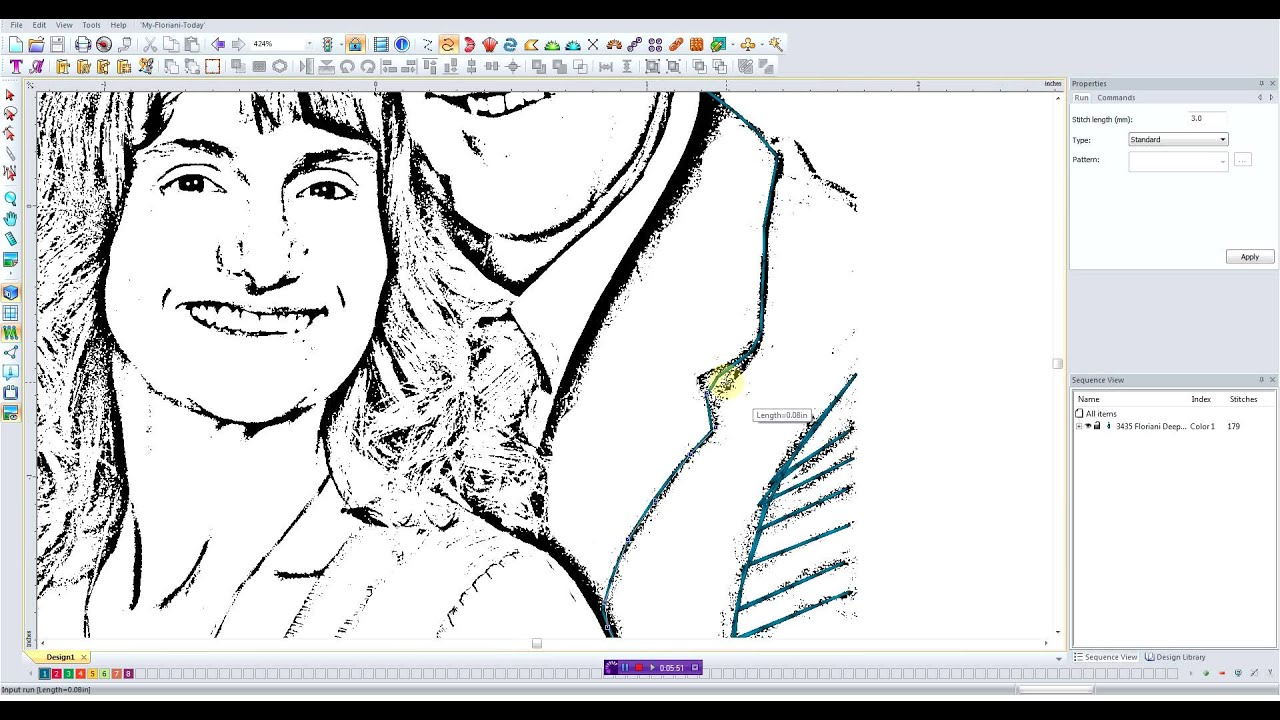 Digitizing A Pencil Sketch For Embroidery Youtube